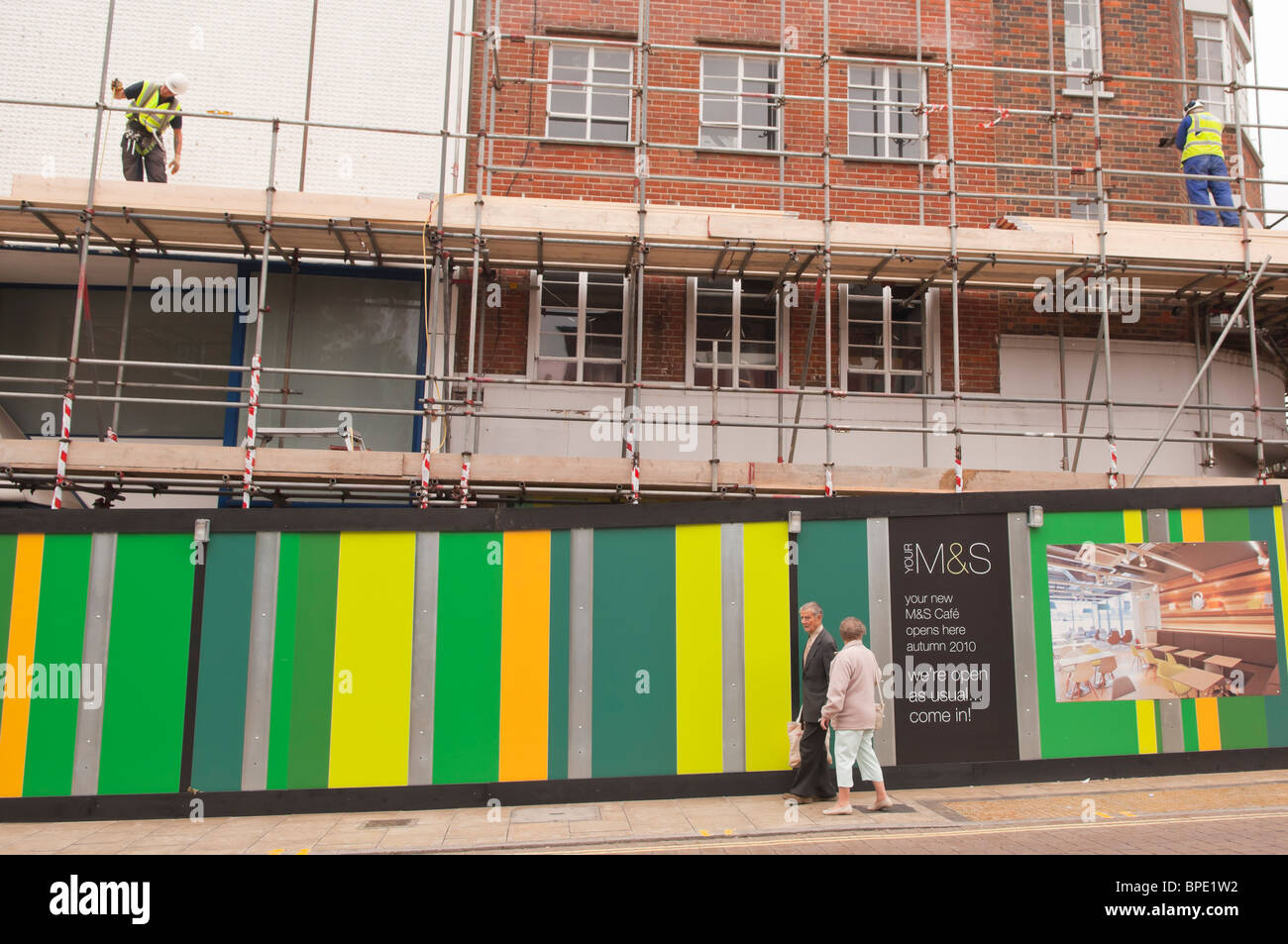 Building work in preperation of the new M&S cafe in Norwich , Norfolk , England , Great Britain , Uk Stock Photo