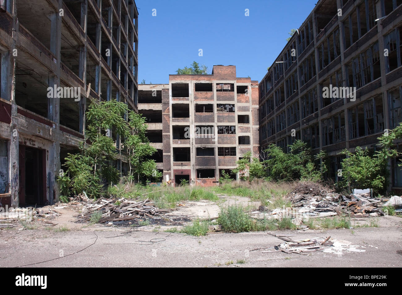 Abandoned Packard automobile plant in Detroit, Michigan, USA - Stock Image