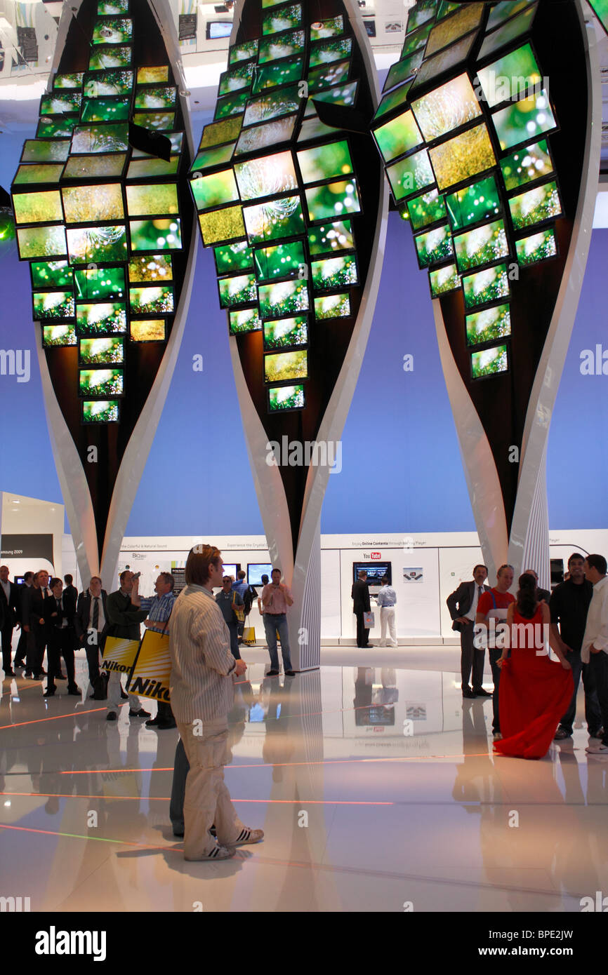 Berlin, IFA, Consumer Electronics Unlimited, flat screens in an artistic installation with a large mirror in the - Stock Image