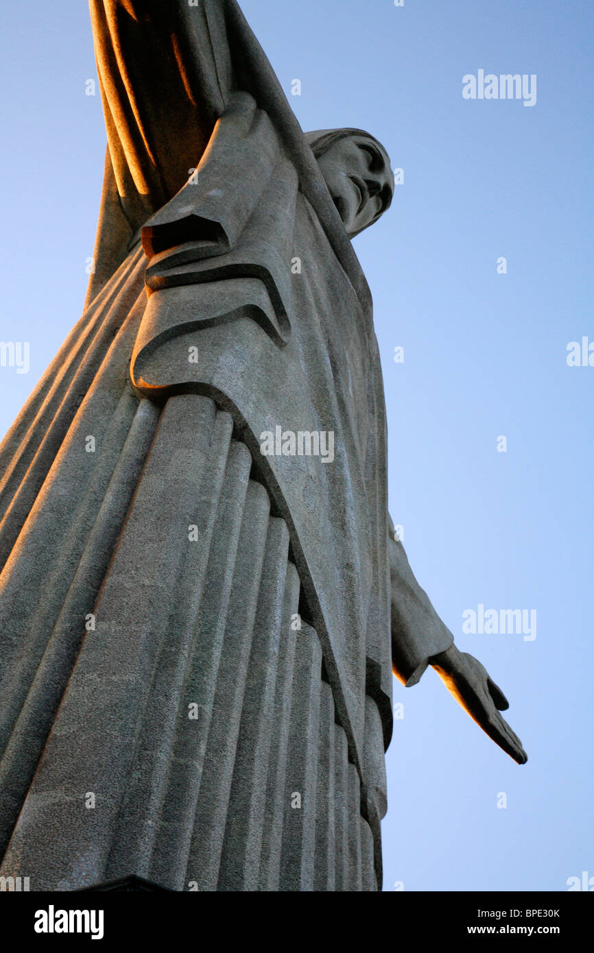 The statue of Christ the Redeemer on top of the Corcovado mountain. Rio de Janeiro, Brazil. Stock Photo