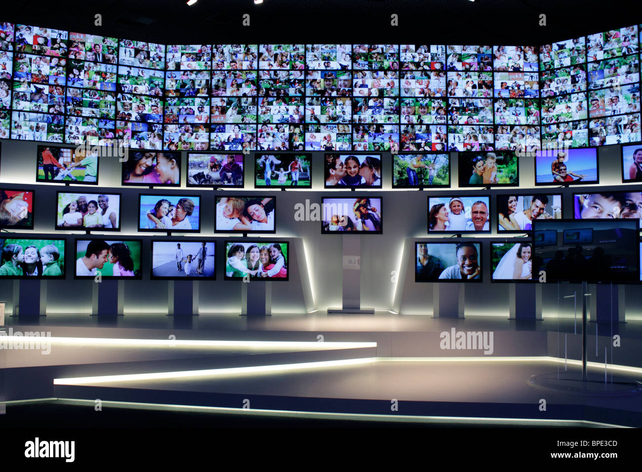 Berlin, IFA, Consumer Electronics Unlimited, many flat screens, LED TV, SL9000 Borderless, in an artistic installation - Stock Image