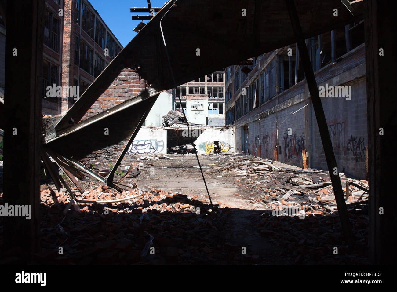 Abandoned Packard automobile plant in Detroit, Michigan, USA Stock Photo