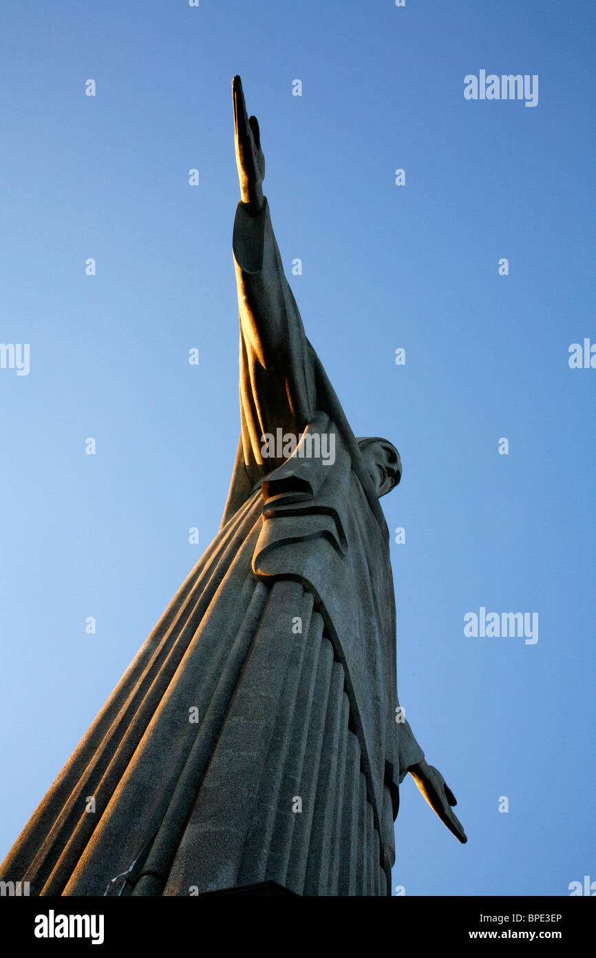 The statue of Christ the Redeemer on top of the Corcovado mountain. Rio de Janeiro, Brazil. - Stock Image