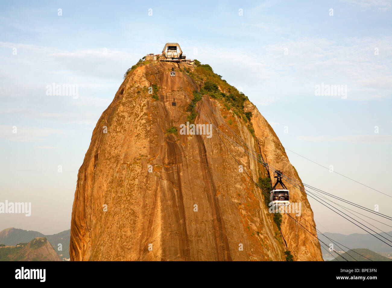 Cable cars at the Pao Asucar or Sugar loaf mountain, Rio de Janeiro, Brazil. Stock Photo