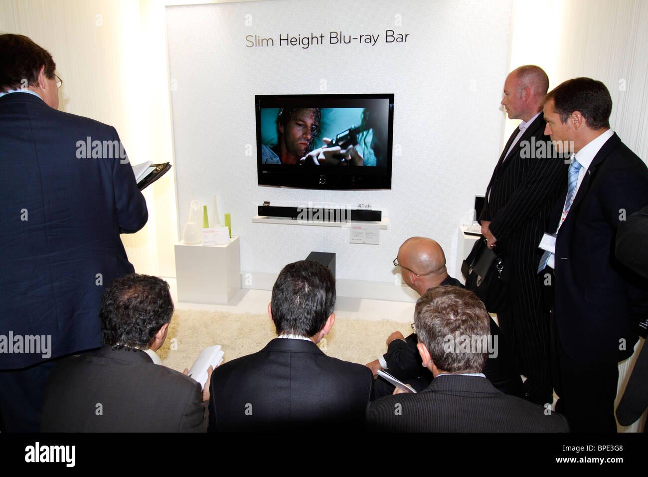 Berlin, IFA, Consumer Electronics Unlimited, Slim Height Blu-ray in a presentation, exibitor LG. EU/DE/DEU/Germany - Stock Image