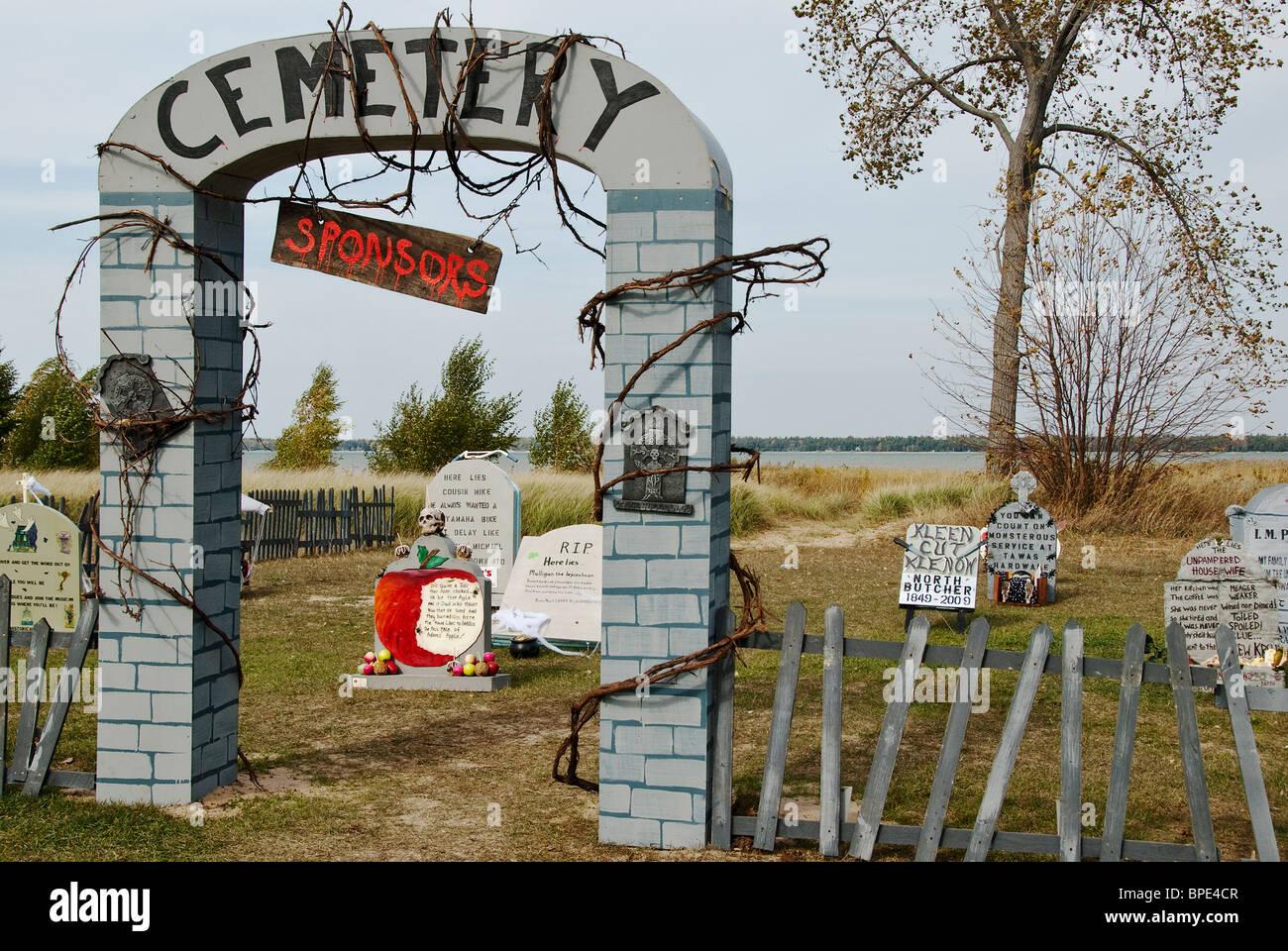 halloween cemetery tawas state park michigan usa stock photo