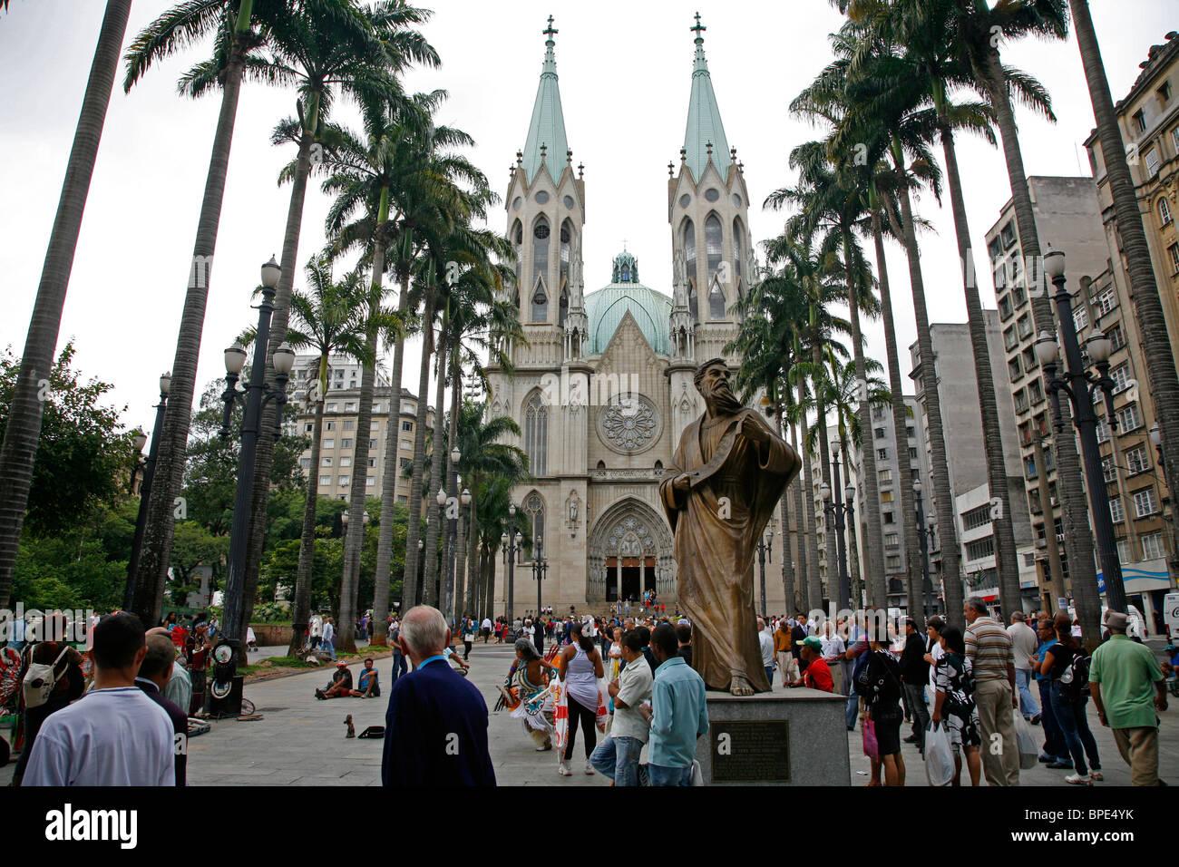 Catedral da Se, Sao Paulo, Brazil. Stock Photo