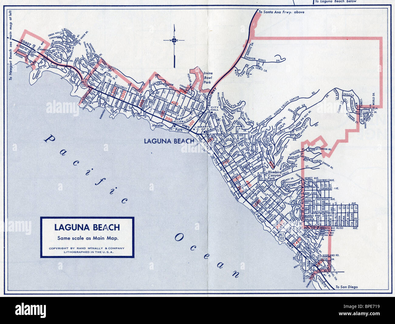 Old Map Of Laguna Beach Stock Photo Alamy - The old map company