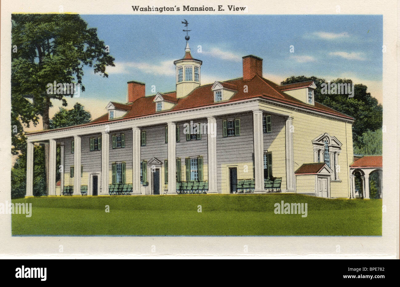 1935 old color postcard, George Washington\'s house in Mount Vernon ...