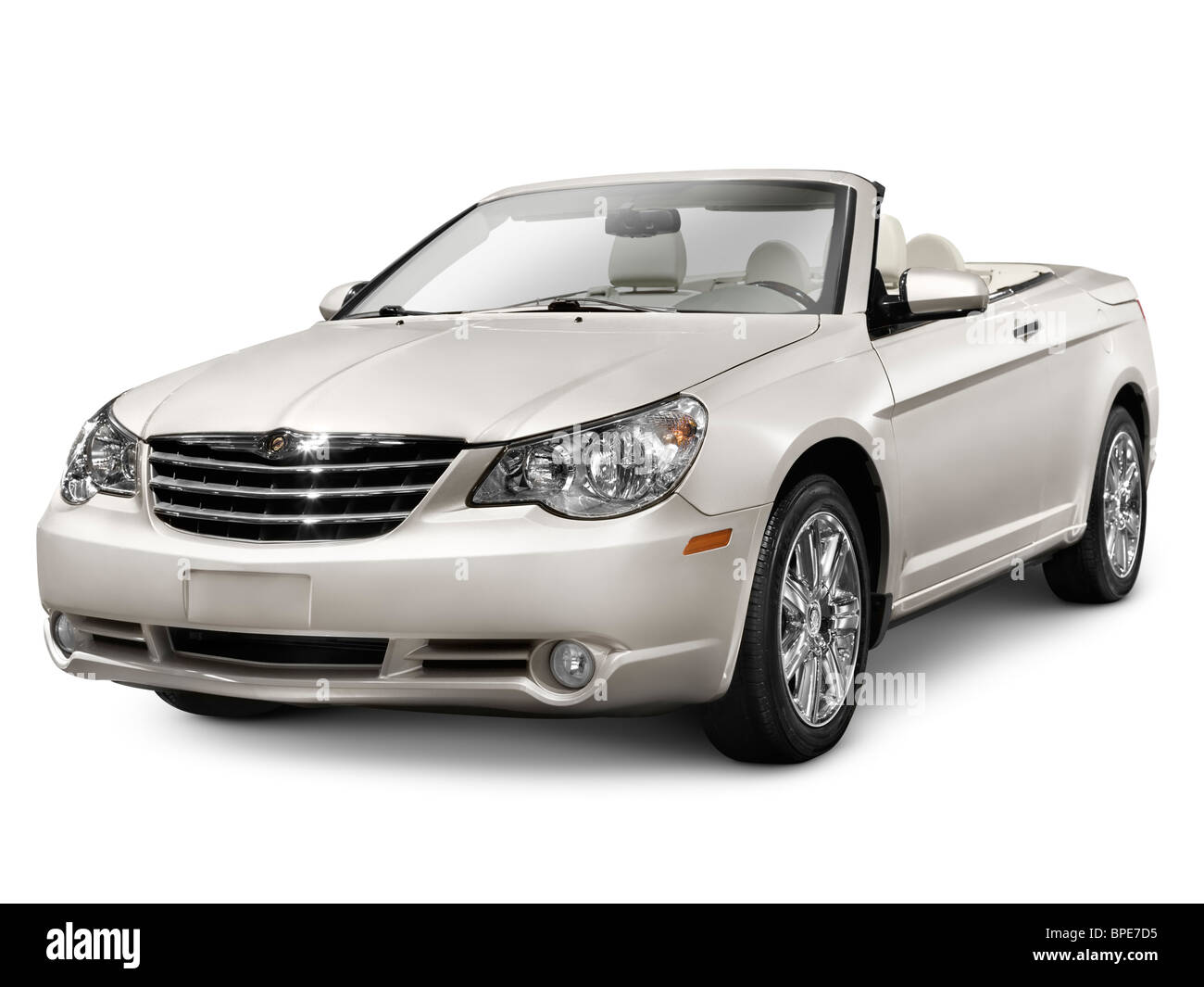 2010 Chrysler Sebring Convertible Limited. Isolated car on white background with clipping path. - Stock Image
