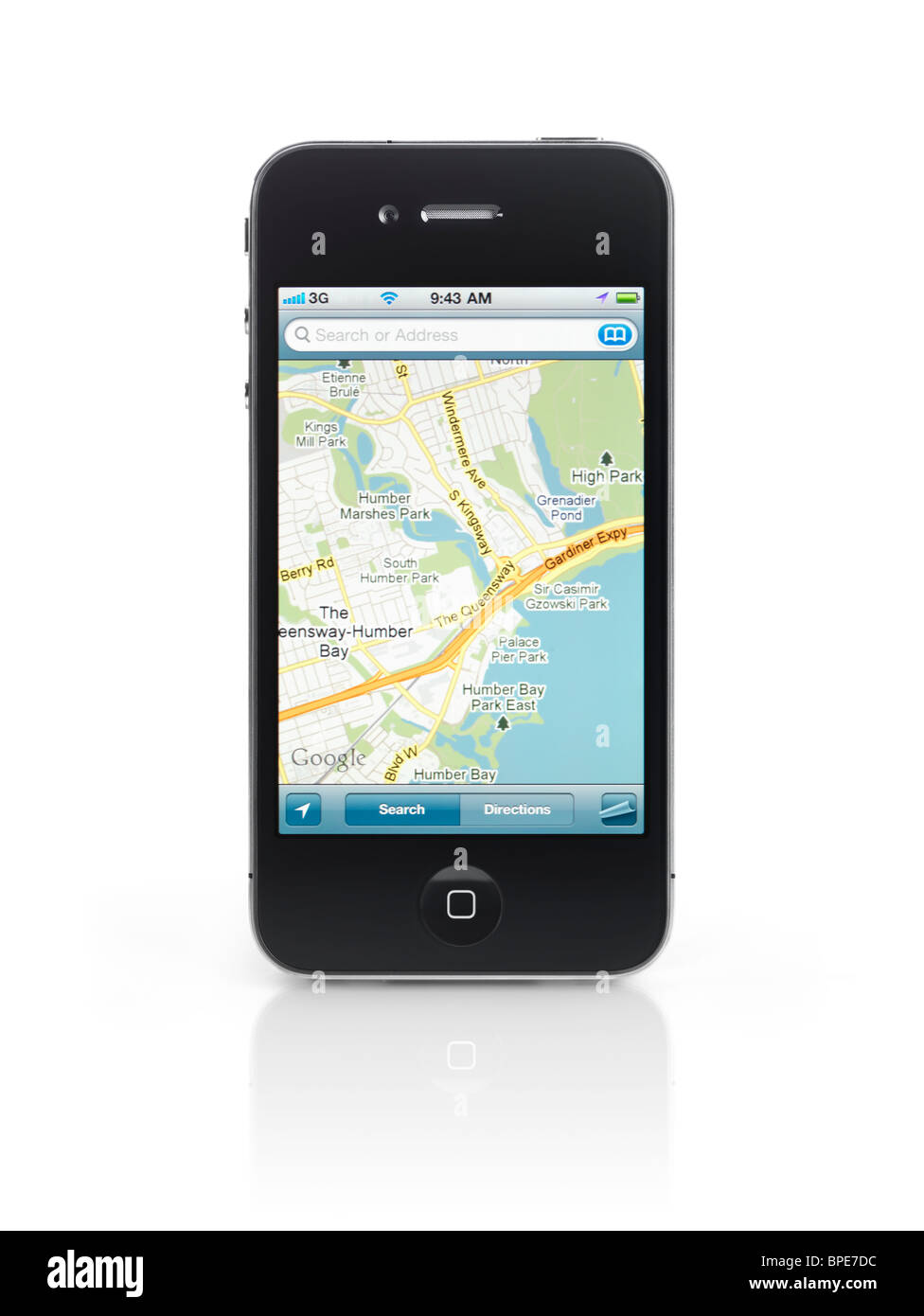 Apple iPhone 4 smartphone with google maps gps app on its display isolated with clipping path on white background - Stock Image