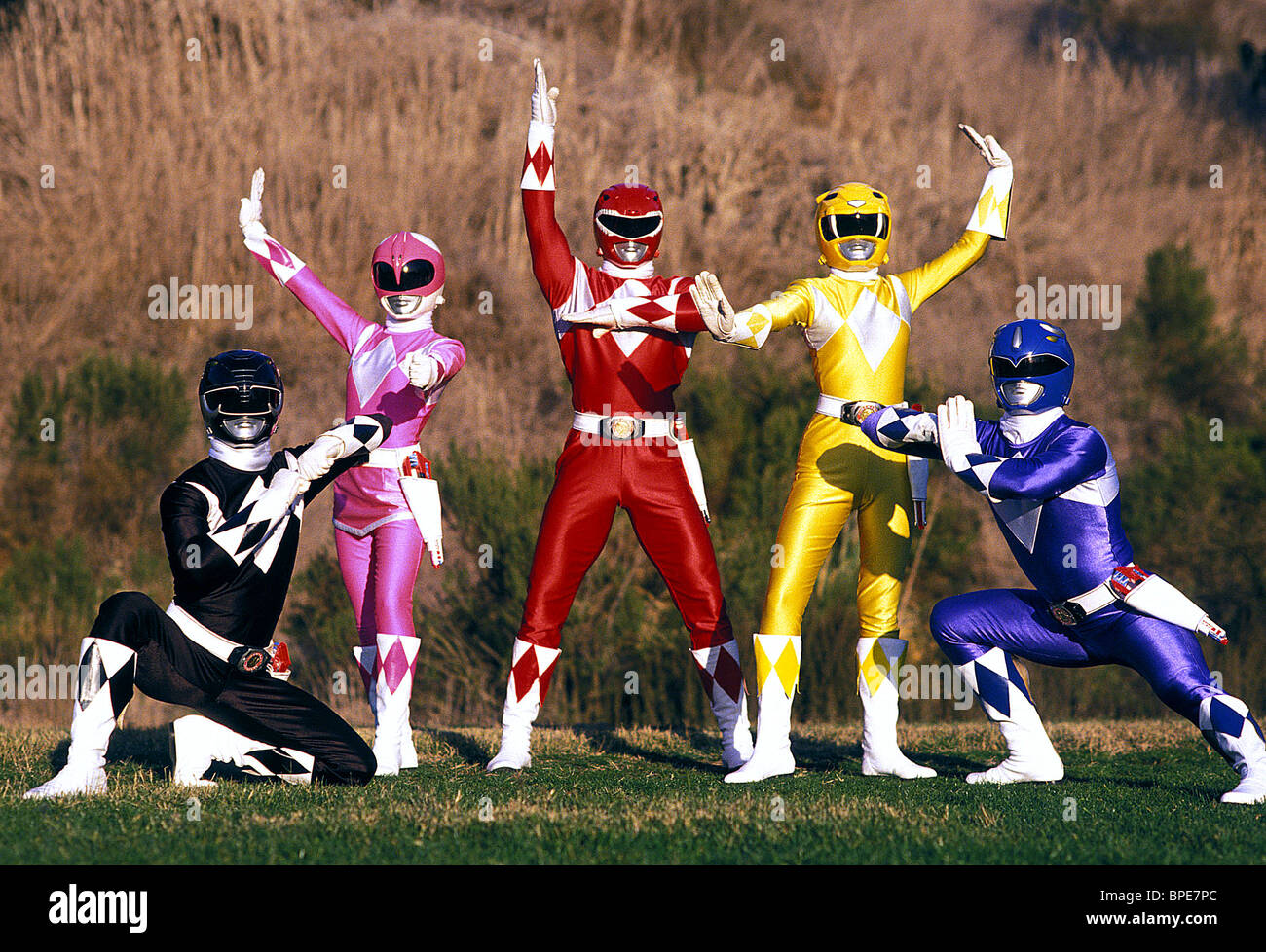 BLACK RANGER, PINK RANGER, RED RANGER, YELLOW RANGER, BLUE RANGER, MIGHTY MORPHIN POWER RANGERS, 1993 Stock Photo
