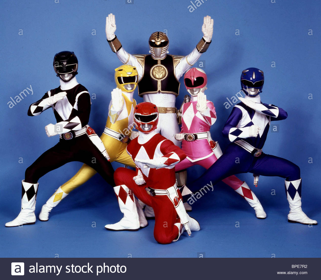 BLACK RANGER, YELLOW RANGER, RED RANGER, WHITE RANGER, PINK RANGER, BLUE RANGER, MIGHTY MORPHIN POWER RANGERS, 1993 - Stock Image