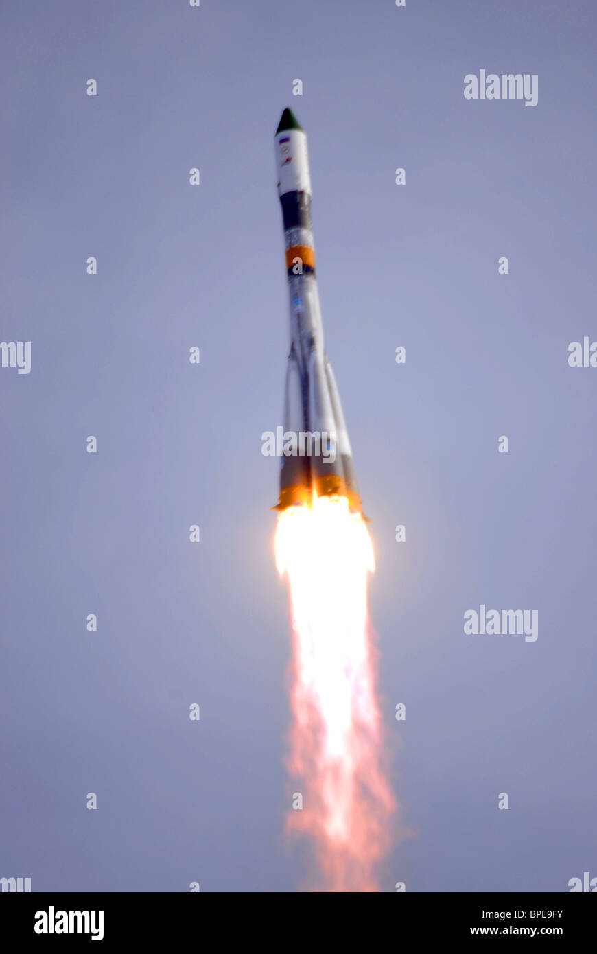 Soyuz-U booster rocket with Progress M-62 cargo spaceship blasts off from Baikonur Cosmodrome - Stock Image