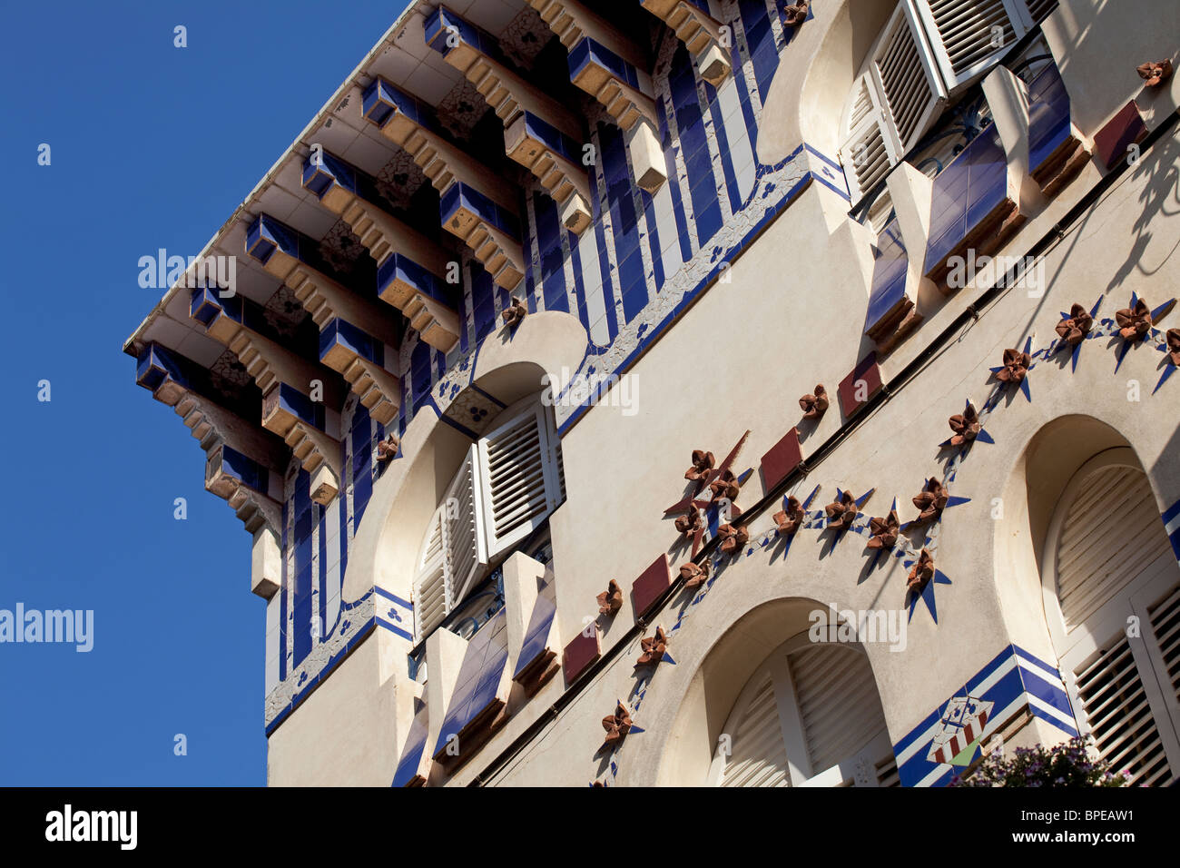 Barcelona Art nouveau architecture, detail in Sant Pol de Mar, Spain - Stock Image