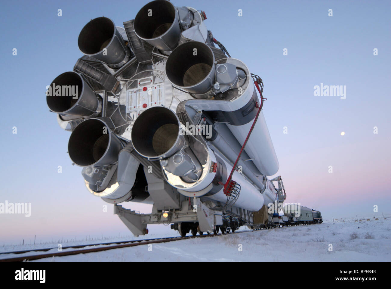 Launch preparation for Proton-M rocket carrying Express-AM33 satellite at Baikonur Cosmodrome - Stock Image