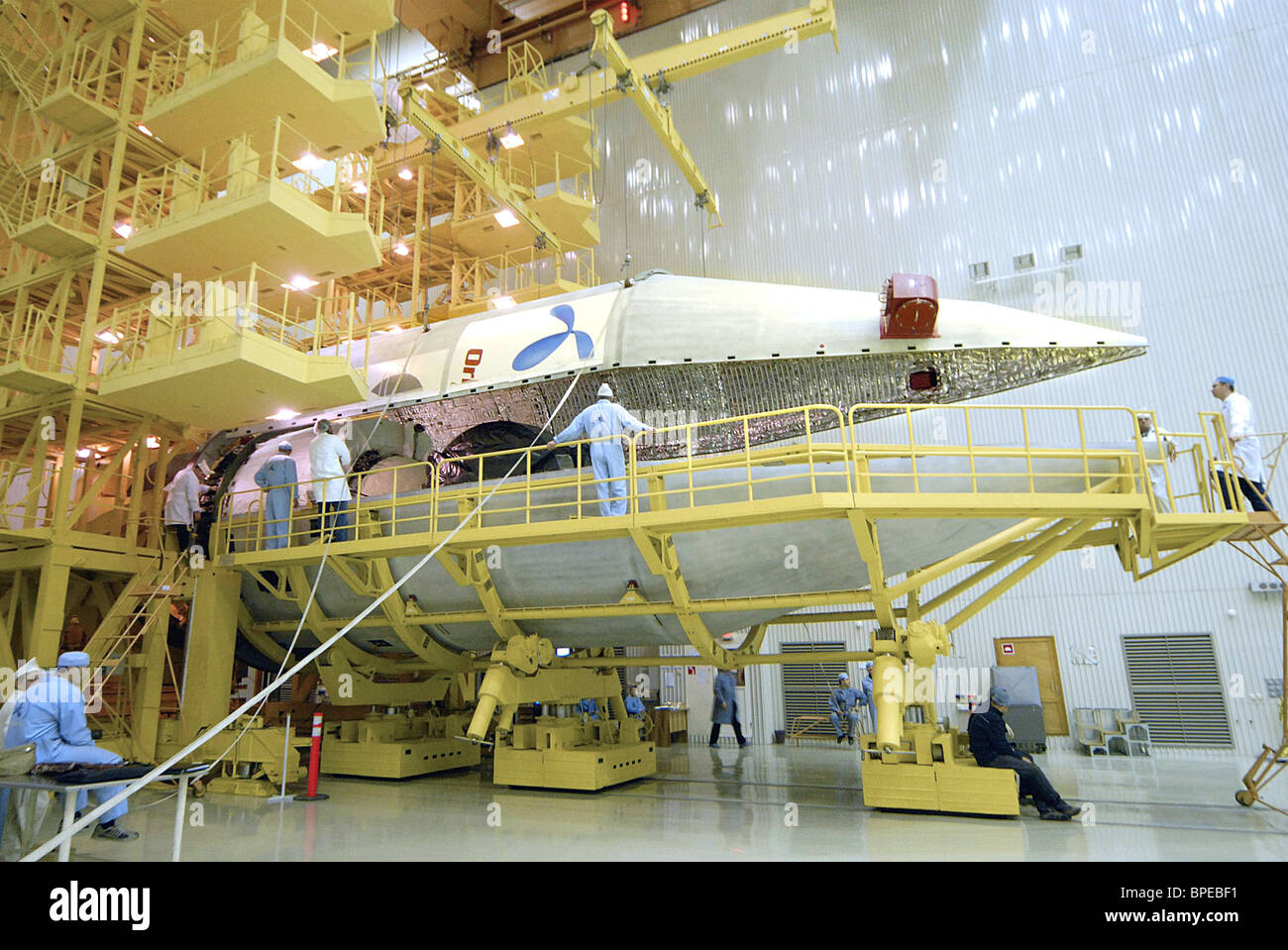 Proton-M and Progress M-63 rockets being assembled at Baikonur Cosmodrome in preparation for Thor-2R launch - Stock Image