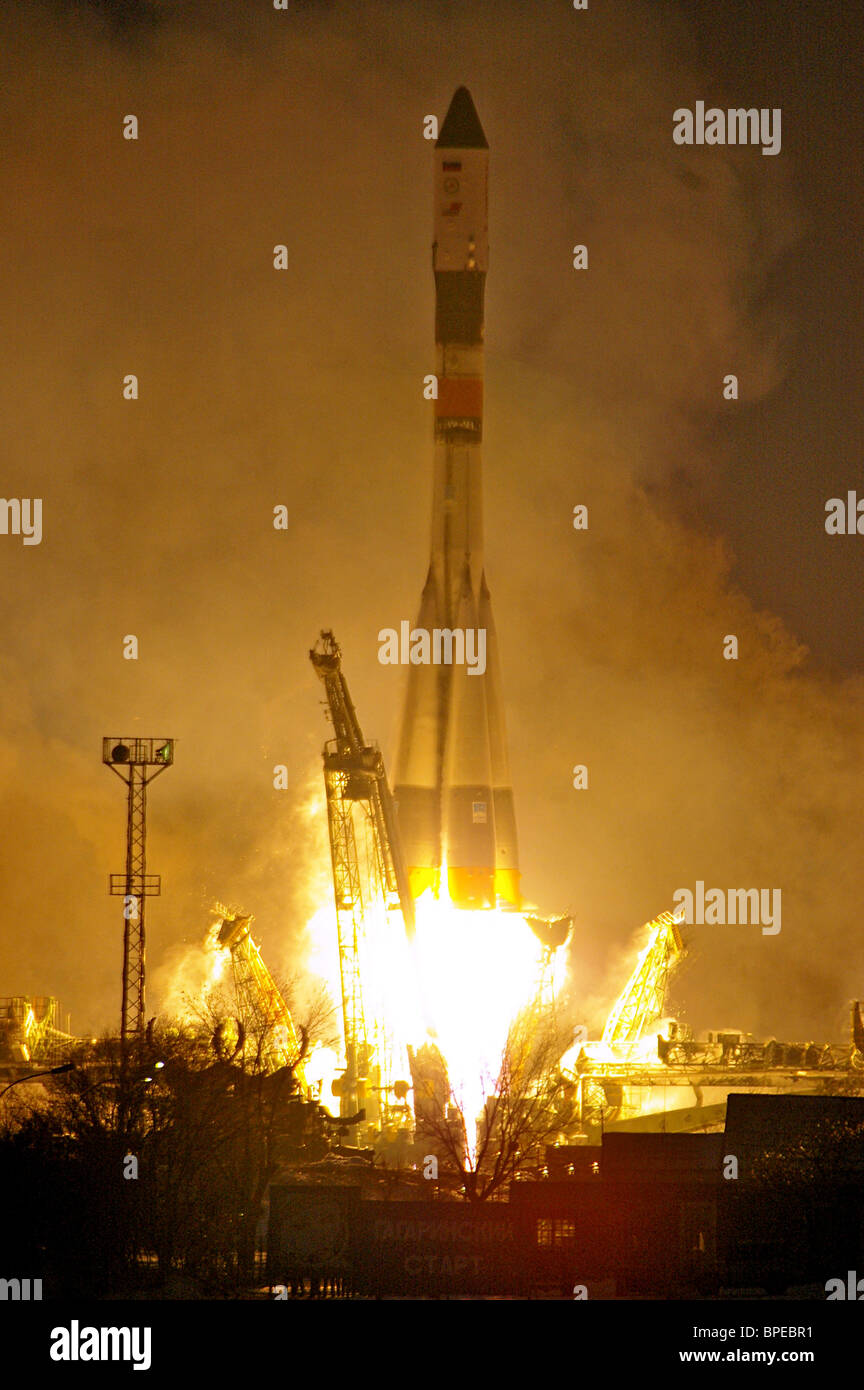 Progress supply spaceship launches from Baikonur cosmodrome - Stock Image