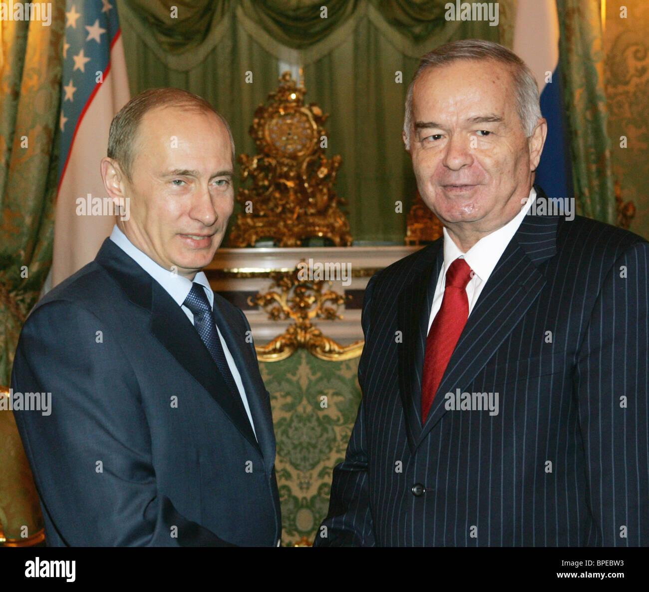 Russian President Vladimir Putin meets Uzbekistan's President Islam Karimov in Kremlin - Stock Image