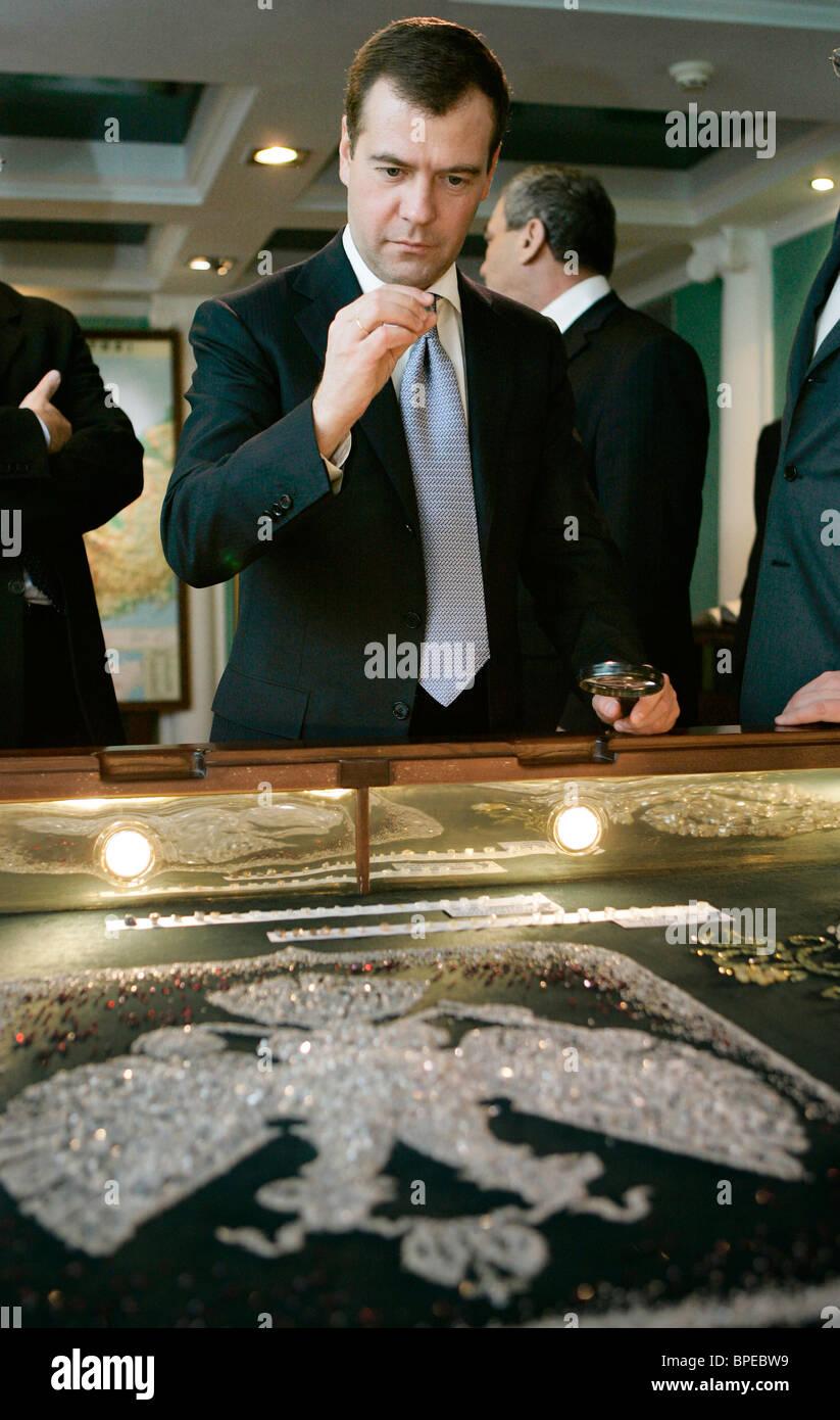 Dmitry Medvedev visits Yakutia - Stock Image