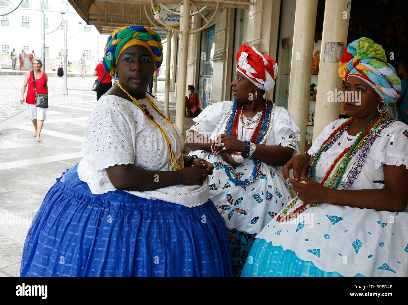 Bahian women in traditional dress, Salvador, Bahia, Brazil. - Stock Image