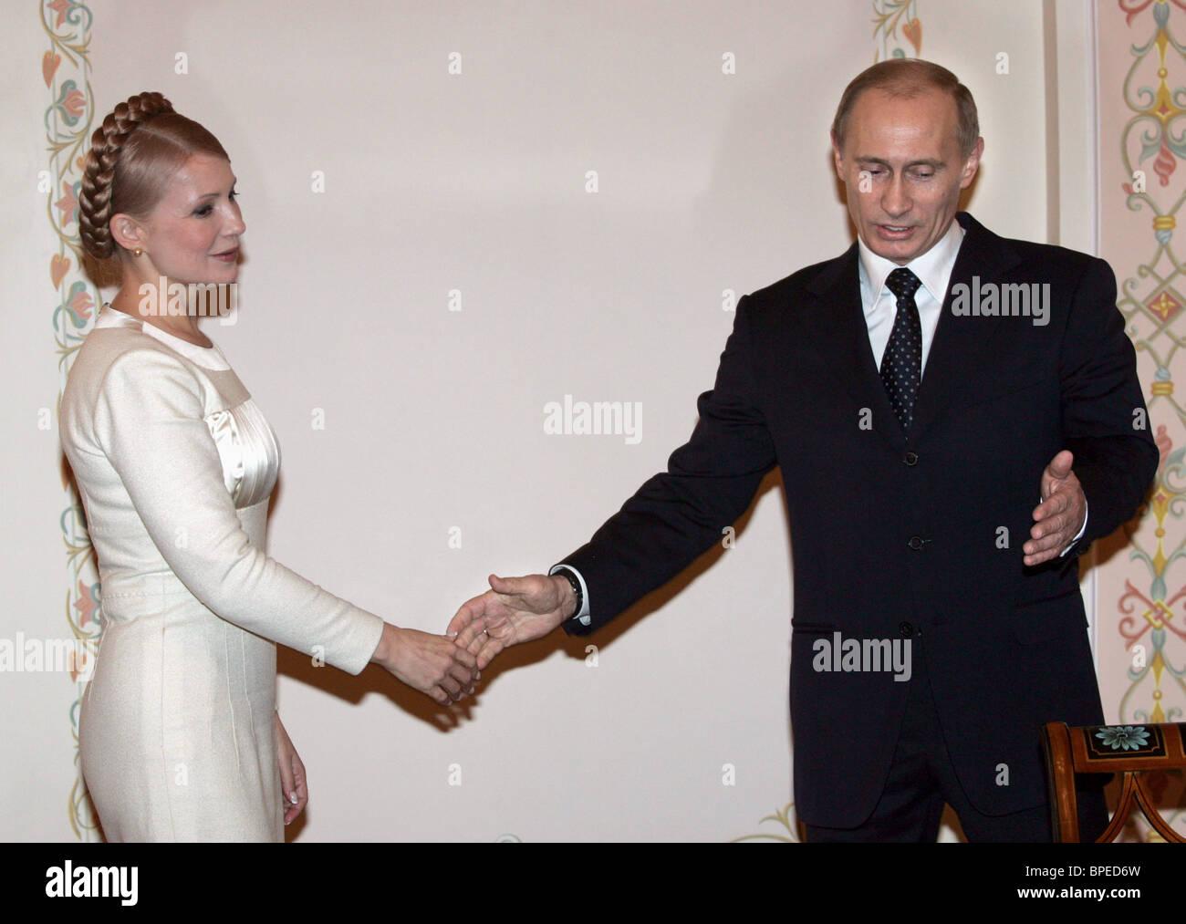 Russia's President Vladimir Putin meets with Prime Minister of Ukraine Yulia Timoshenko - Stock Image