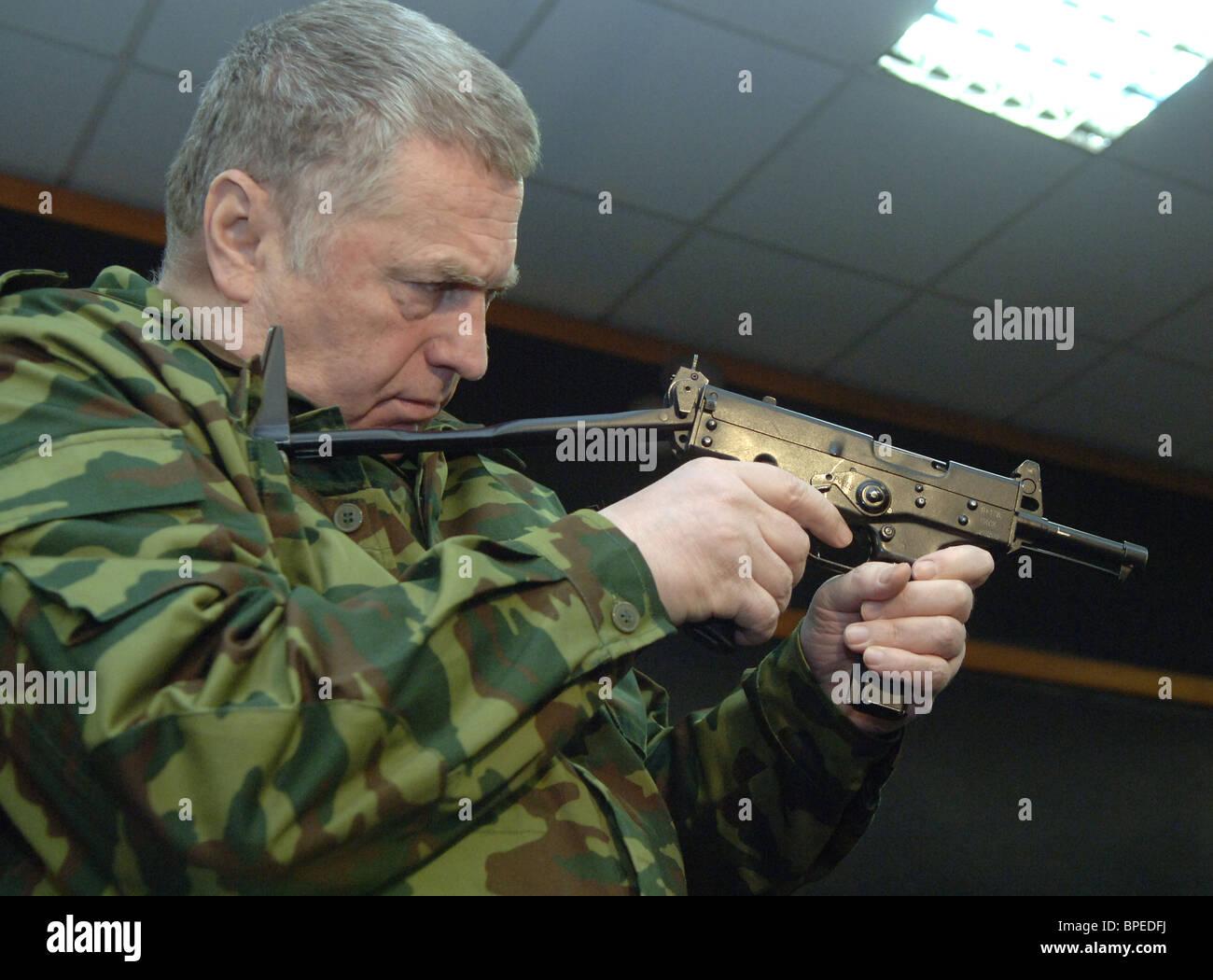 Vladimir Zhirinovsky and Andrei Lugovoi visit Ninth Wave security holding's training center - Stock Image