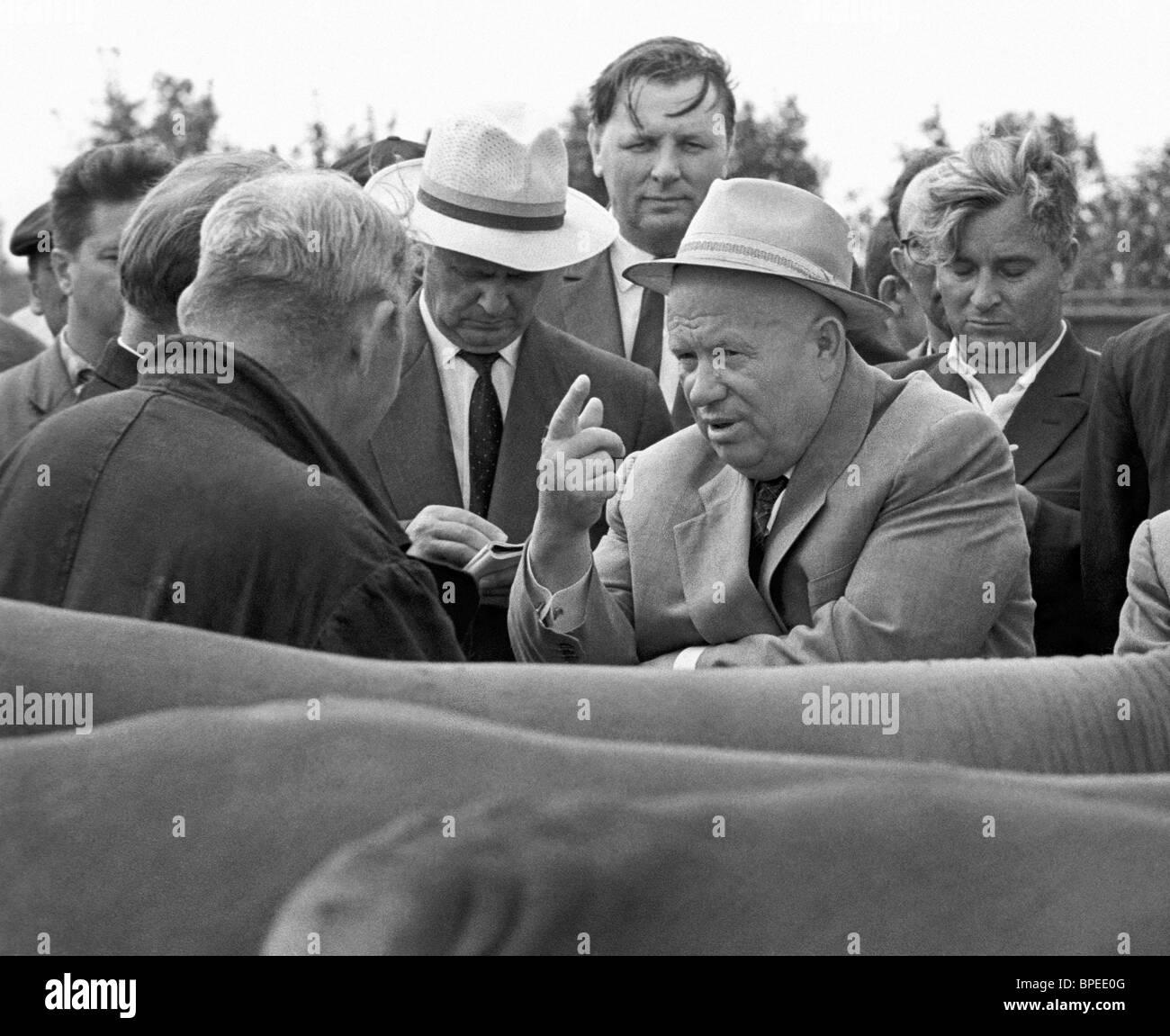 Nikita Khrushchev in Volgograd region, 1964 - Stock Image