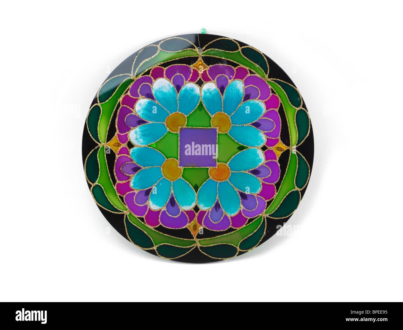 Stained Glass Buddhist Mandala - Stock Image