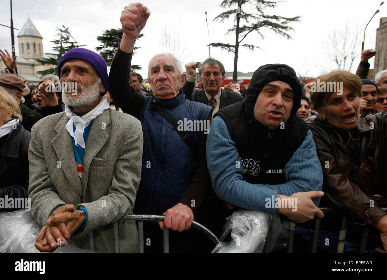 Opposition supporters protest outside Georgian Parliament - Stock Image