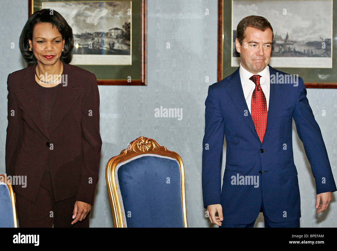 Dmitry Medvedev meets with Condoleezza Rice and Robert Gates - Stock Image