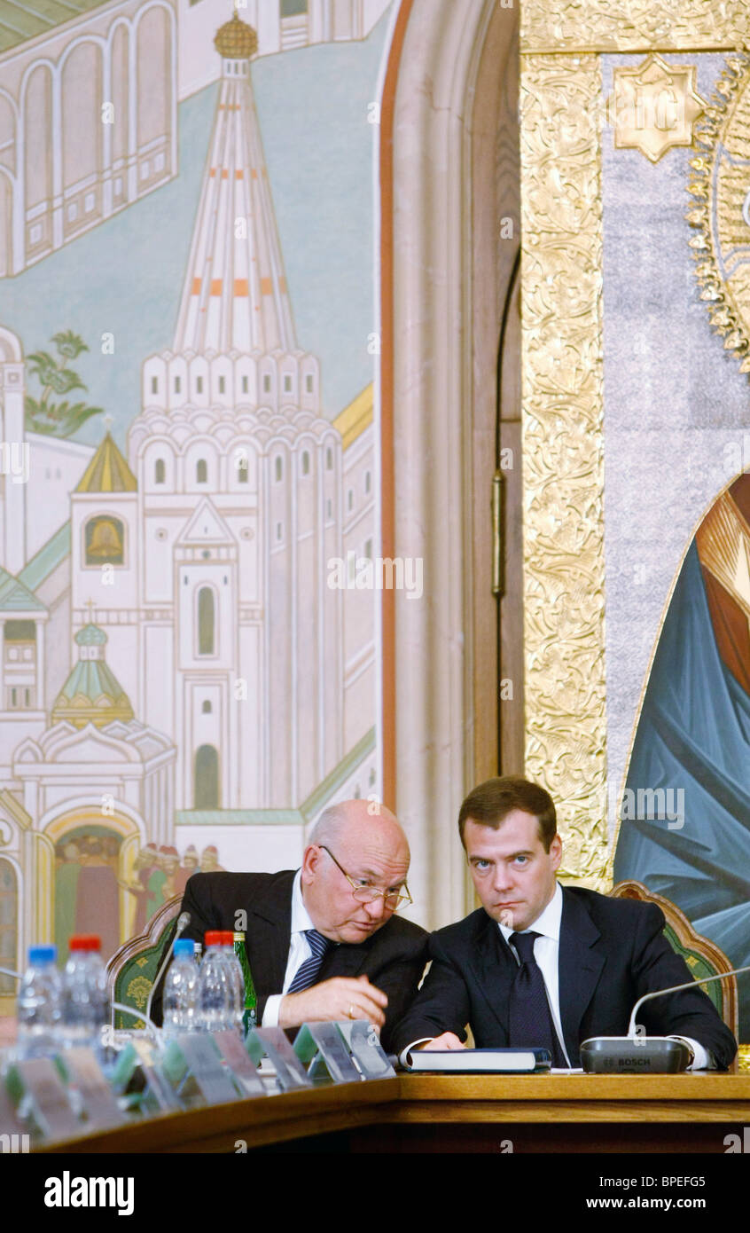 Medvedev attends meeting of councils for publication of Orthodox Encyclopedia in Moscow - Stock Image