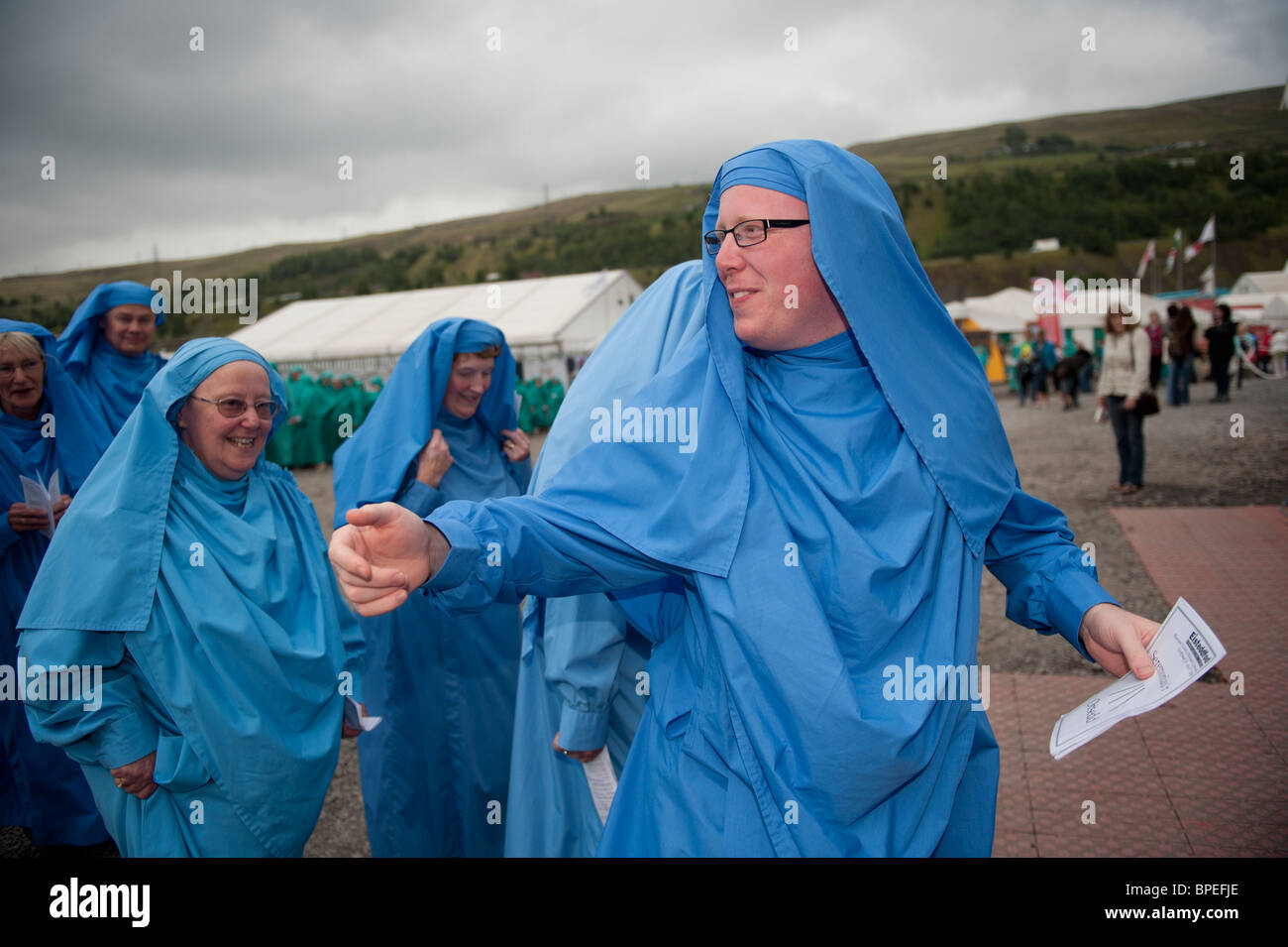 Blue robed Bards of the Gorsedd the National Eisteddfod of Wales, Ebbw Vale 2010 - Stock Image
