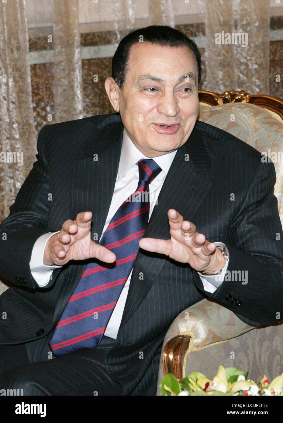 Vladimir Putin and Hosni Mubarak meet in Novo Ogaryovo - Stock Image