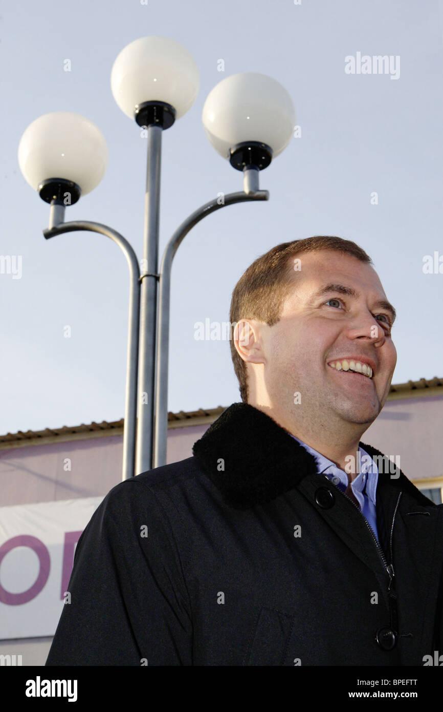 President elect Dmitry Medvedev visits Tyumen region - Stock Image