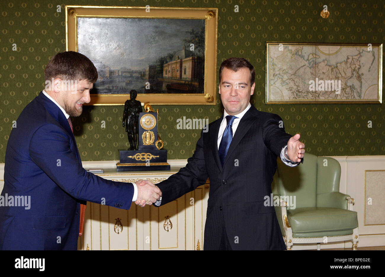 President-elect Medvedev meets with Chechen President - Stock Image