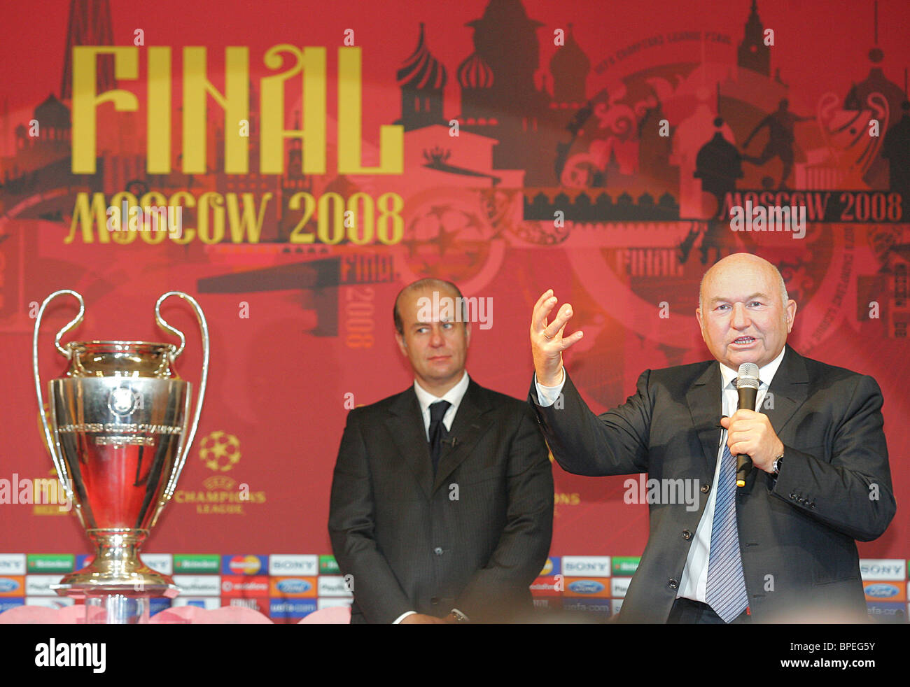 UEFA trophy handover ceremony in Moscow - Stock Image