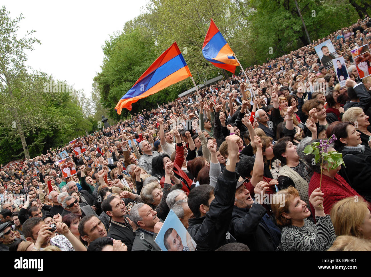 Armenian opposition protests continue Stock Photo