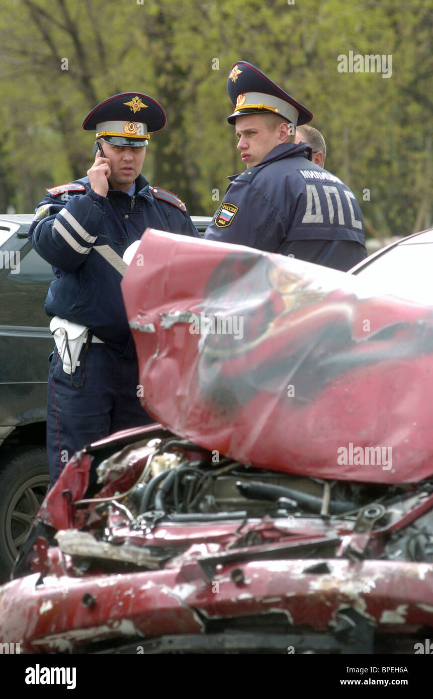 Moscow car accident - Stock Image