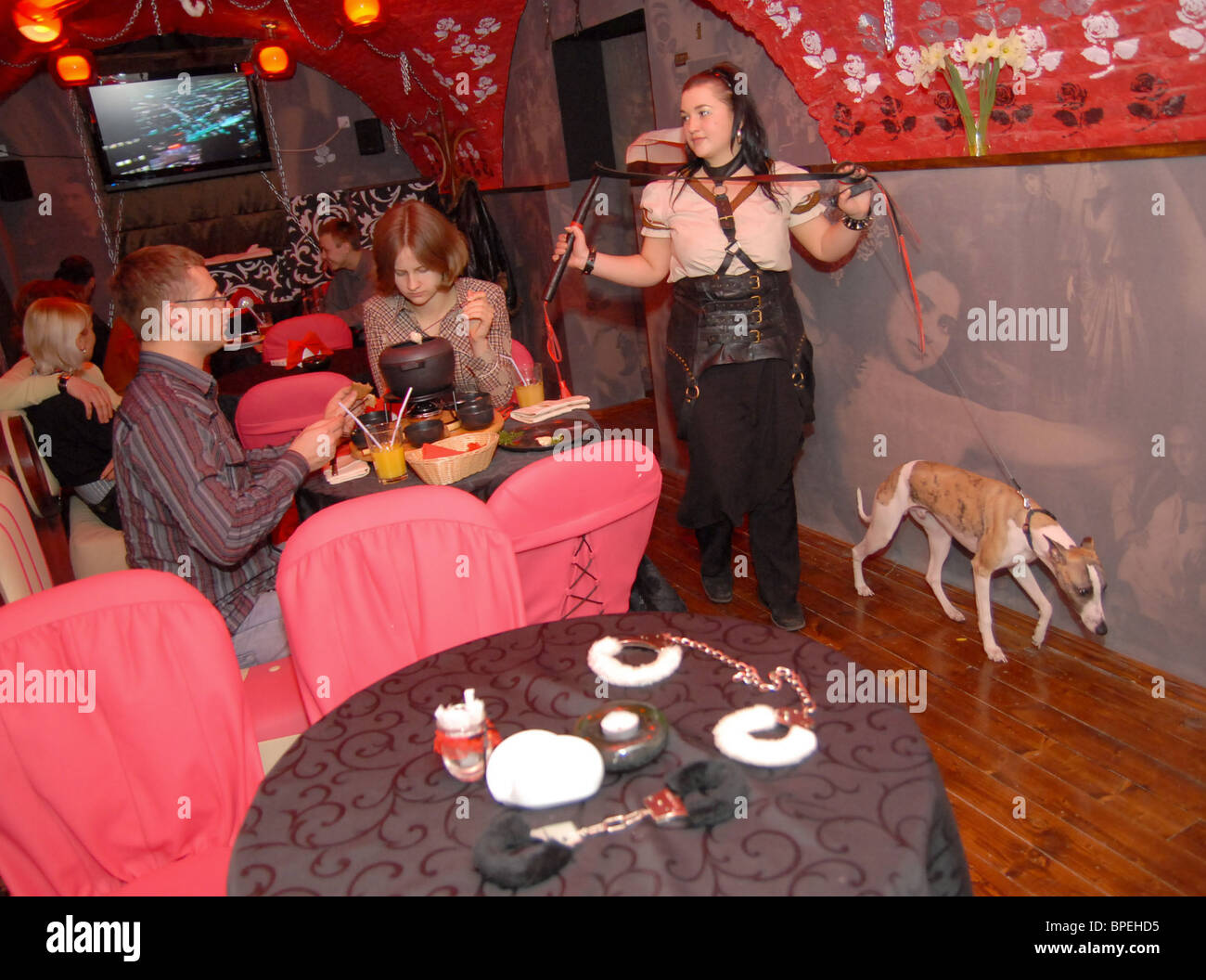 Masoch Cafe appears in Lviv, Ukraine - Stock Image