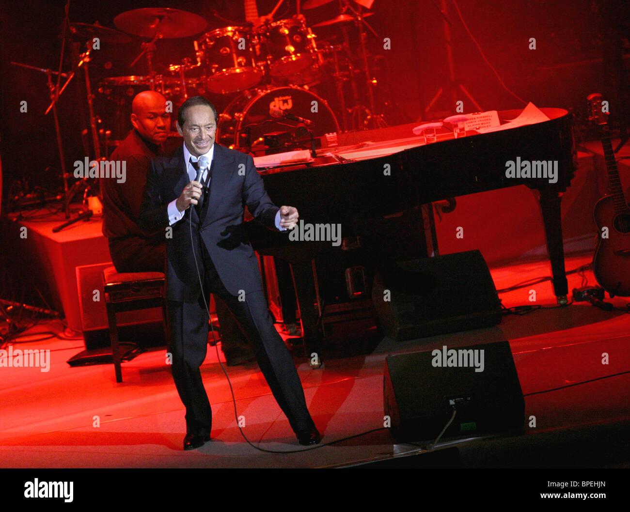 Ottawa-born singer Paul Anka performs in Moscow Stock Photo