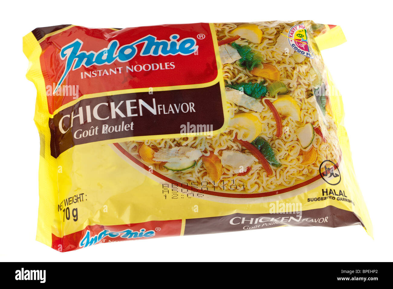 Packet of Indomie dried instant noodles - Stock Image