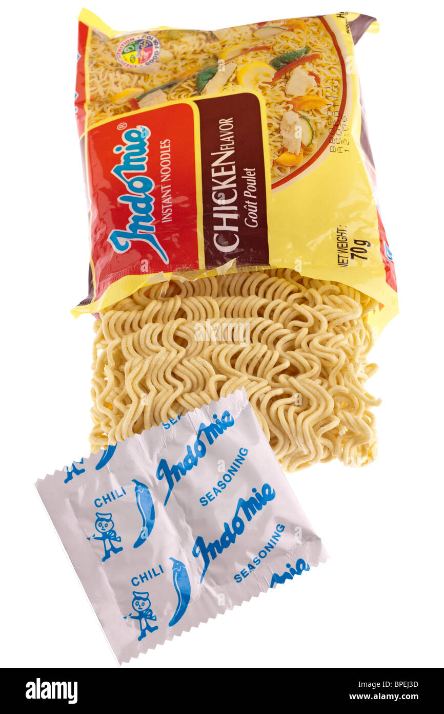 Packet of Indomie dried instant noodles and flavouring in sachet ...