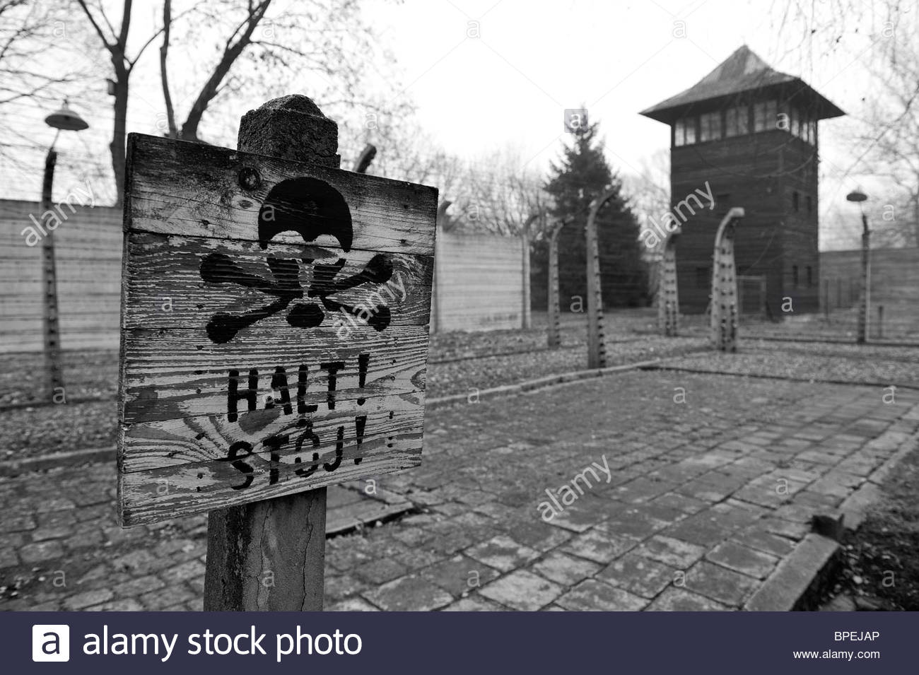 Detail of the perimeter fence surrounding Auschwitz concentration camp, with a warning sign the foreground. - Stock Image