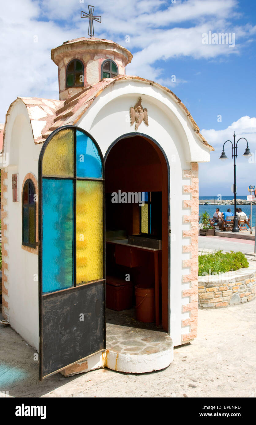 Small Christian shrine like a miniature Greek orthodox church in a holiday village in the Pelion region of mainland - Stock Image