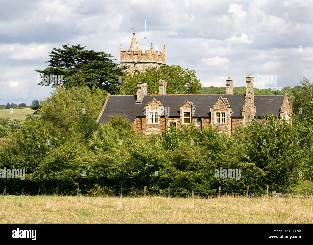 St Mary's church and the rectory Compton Dando in the Chew valley Somerset - Stock Image