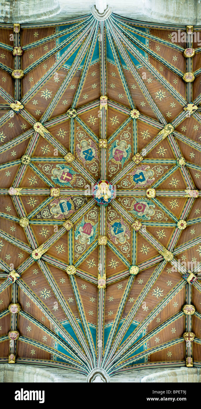 Wooden ceiling at top of Peterborough cathedral's central tower Stock Photo