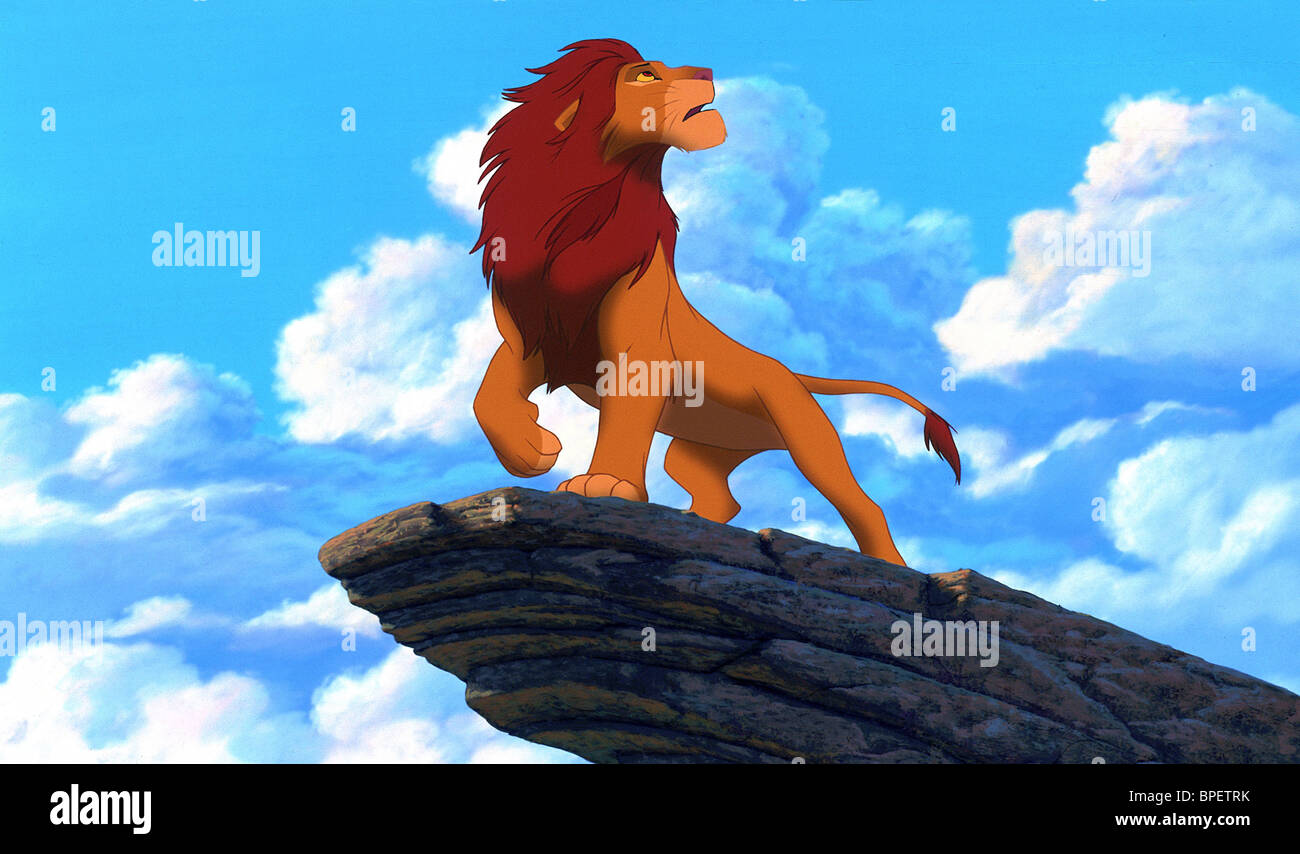 Charming SIMBA ON PRIDE ROCK THE LION KING (1994)   Stock Image