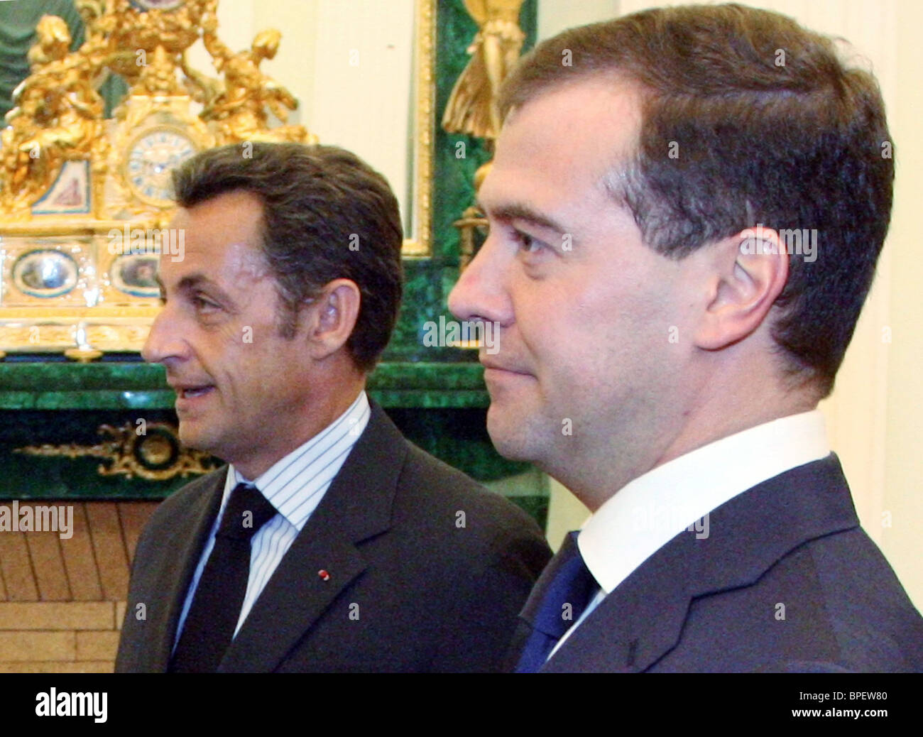 Russian and French presidents meet in Moscow - Stock Image