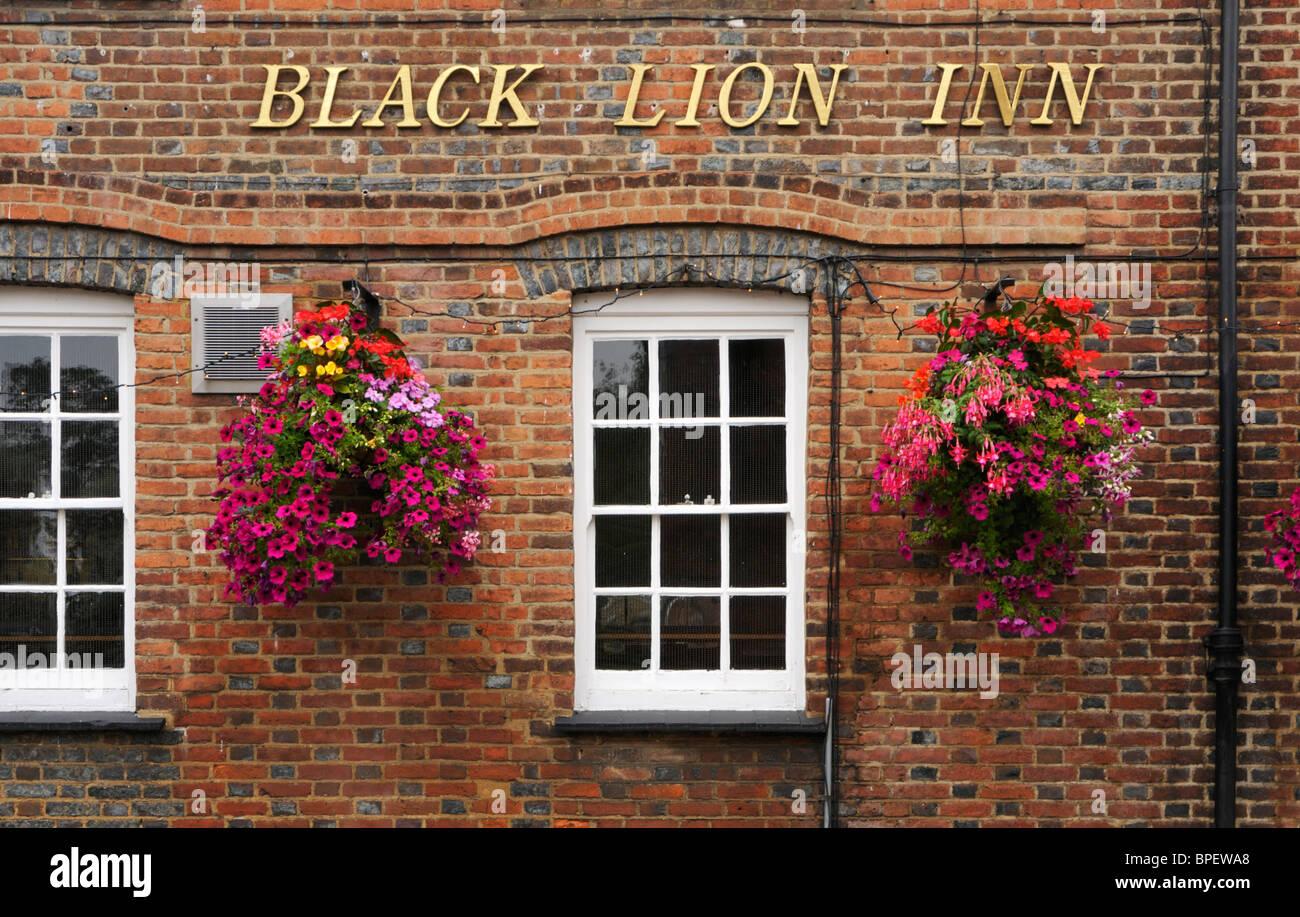 The Black Lion Inn on Fishpool Street, St Albans, UK. A traditional English Inn built in the 1700s. - Stock Image